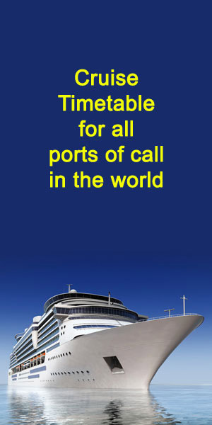 Cruise Timetables for all ports of call in the world